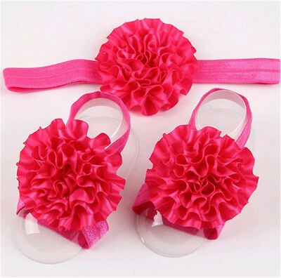 1Sets 3Pcs/Baby Infant Headband Foot Flower Elastic Hair Band Accessories Rose