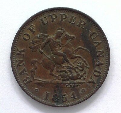 Upper Canada 1854 1/2 Penny Bank Token  Choice Almost Uncirculated