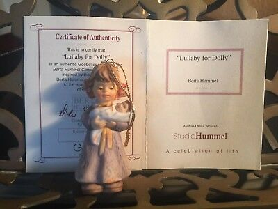 """1997 ~ """"Lullaby for Dolly""""~ Berta Hummel Christmas Ornament Auth Card"""