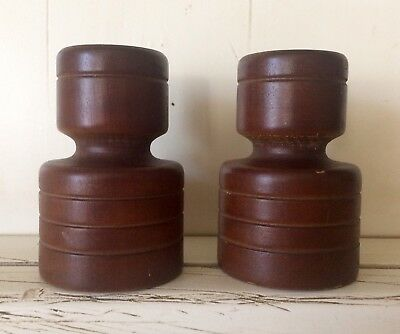 Mid Century Danish Modern Pair of Wooden Candlesticks/holders,3 Inches,Vintage