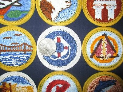 BOY SCOUTS Of AMERICA Vintage SCOUT BADGES On NAVY 1990's COTTON Fabric-shy 1 yd