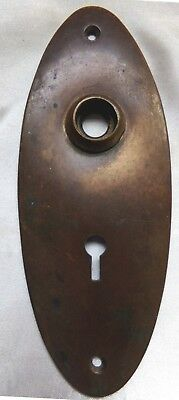 Vintage 1920's FRONT DOOR Escutcheon PLATE OVAL BRASS Key Hole ANTIQUE HARDWARE