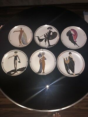Mixed Lot of 6 Franklin Mint House of Erte Limited Edition Porcelain Plates