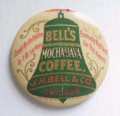 Antique Celluloid Advertising Pocket Mirror BELL'S COFFEE Mocha & Java Chicago
