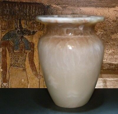 Vintage Egyptian Offering Jar, Onyx Marble, Ancient style, Vase