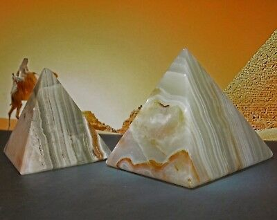 Two Real Green Onyx Marble Pyramids, Ancient Egypt, Egypian, Stone