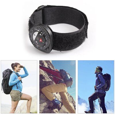 Compass Outdoor Clip-On Watchband Hiking Gear Compasses Nylon Band Bracelet BM