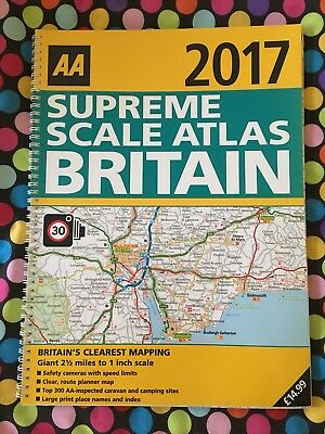 AA 2017 Supreme Scale Spiral Bound Road Atlas - Britain