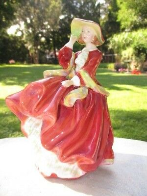 """A Windy Day At The ' Top Of The Hill ' Royal Doulton Figurine 7"""" Rustic Red Gown"""