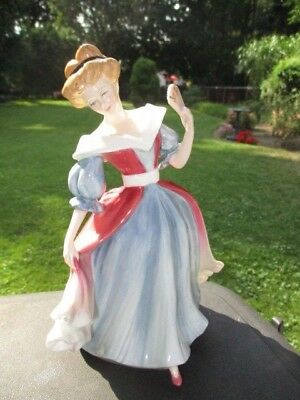 """Amy Royal Doulton Figurine By Peter Gee Cranberry Over Blue Gown 8.5"""""""