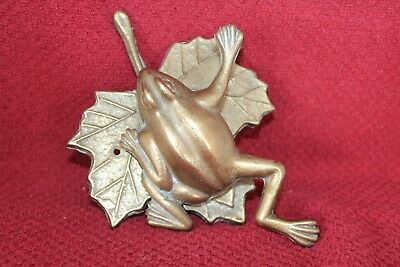 Vintage Brass Frog On Maple Leaf Pad Door Knocker Cast Brass Door Bell Knocker