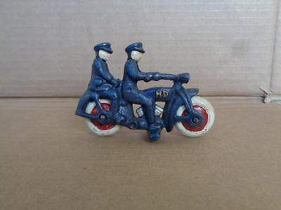 Cast Iron Harley Davidson Motorcycle With 2 Riders Wheels Roll