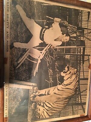 Clyde beatty and saber signed photo