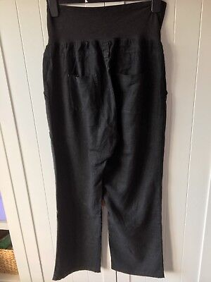 Maternity Black Linen Trousers Smart Work Size 12 Over The Bump Mothercare