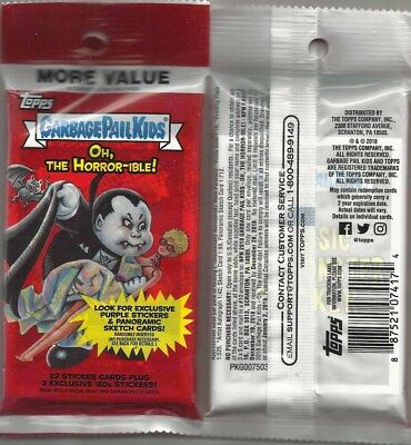 Garbage Pail Kids: Oh, The Horror-ible RETAIL FAT PACKS Exclusive PUKE Stickers!