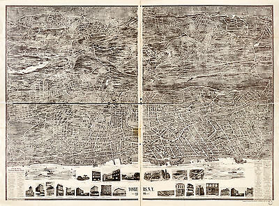 1899 Bird's-eye-view Map Yonkers New York Wall Art Poster Decor Vintage History