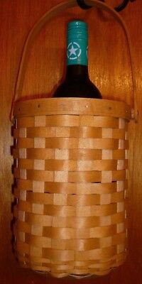 Longaberger Handmade Handled Wine Bottle Carrier Basket Made in the USA