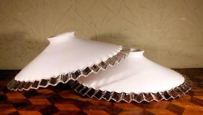 2x FRENCH Vintage Art Deco Frilly Milk Glass Coolie Ceiling Lampshade Light LOOK