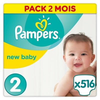 PAMPERS New Baby Taille 2 (4-8kg) 516 couches - Format pack 2 mois