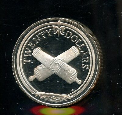 1985 Treasure Coin of the Caribbean $20 Coin -Noon Cannons  GR561
