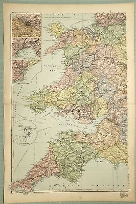 1895 Map South West Cornwall Scilly Islands Exeter Cardiff Swansea Bristol