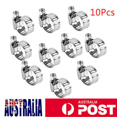 10x HOSE CLIP ADJUSTABLE SPRING PIPE CLAMP FUEL LINE PETROL STAINLESS 8-12mm