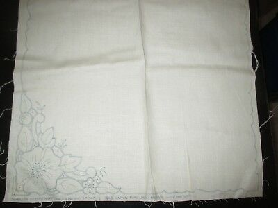 "LOT of 8 Vintage FLOWERS Stamped LINEN NAPKINS To EMBROIDER-1950's - 18"" by 18"""