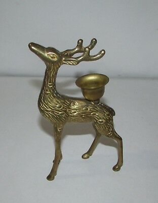 Vintage Brass Christmas Reindeer Figural Candle Holder 6""