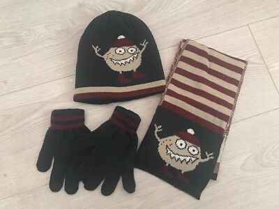 New Boys Hat Scarf And Gloves Set Navy Stripe Monster