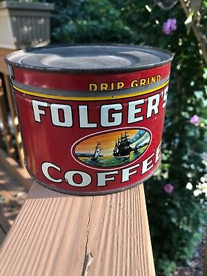 Vintage Dated Folger's Key Wind Coffee Tin with Sailing Ship Graphics