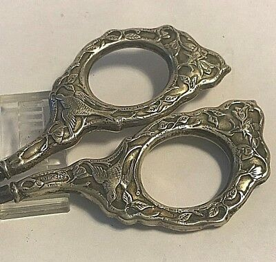 Antique  Sterling Silver Sewing Pair Scissors Flowers & Birds Handles #387