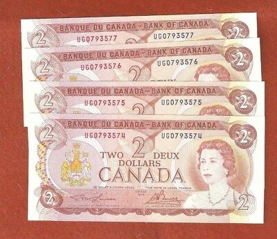 4 1974 Consecutive Serial Number Two Dollar Bank Notes Gem Uncirculated E105