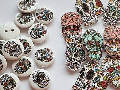 Wooden Skull Buttons Mexican Sugar Skull Day Of The Dead Halloween