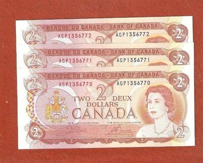 3 1974 Consecutive Serial Number Two Dollar Bank Notes Gem Uncirculated E106
