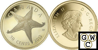 2013 Starfish-Sea Creatures Proof 50-Cent 1/25oz Gold Coin .9999 Fine (13244)