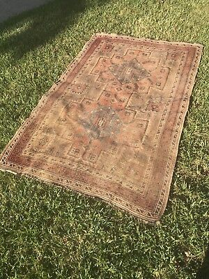 19th Century Worn Distressed Persian Oriental Rug Old Caucasian Wool Kazak