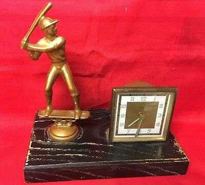 1960's FLORN West Germany Desk Clock.  Baseball Player And Clock On Wood Base