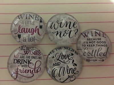 Set Of 5 X 25mm Glass Dome Cabochons - Assorted Wine Designs