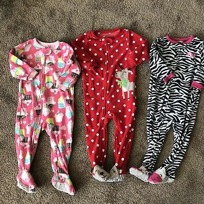 Carters 18 month girl pajamas Lot Of 3