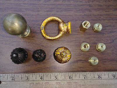 8Uu24  Assorted Lamp Parts: Brass (7 Pcs) & Diecast (3 Pcs), Very Good Condition
