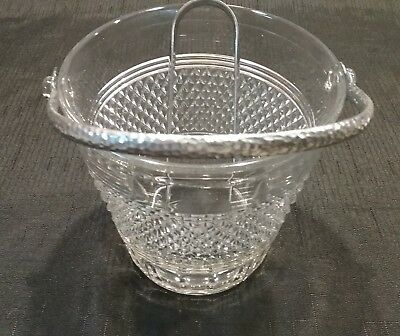 Vintage Elegant Clear Glass Ice Bucket Diamond Pattern W/Handle, EagleClaw Tongs