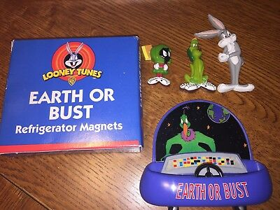 """BUGS BUNNY, MARVIN the MARTIAN and K9 (K-9) Magnet Set """"Earth or Bust"""""""