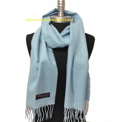 New 100% CASHMERE SCARF MADE IN SCOTLAND SOLID Blue SUPER SOFT UNISEX