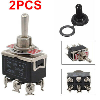 2x Durable Waterproof Boot Cap DPDT Momentary Toggle Switch ON/OFF/ON Amp Black