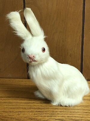"Vintage Antique Real Fur White Bunny Rabbit Toy Figurine 6"" tall"