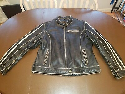 River Road Womens 2XL Drifter Distressed Vintage  Leather  motorcycle jacket.