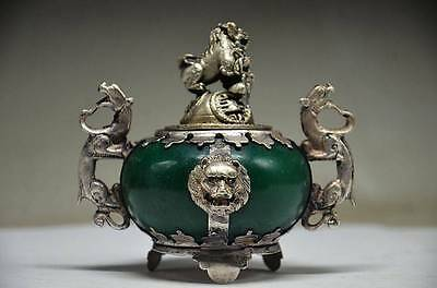 DELICATE CHINA SILVER DRAGON INLAID JADE HANDMADE CARVED LION INCENSE BURNER b01