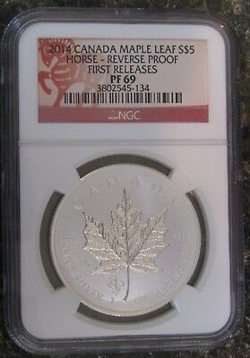 2014 Canada $5 1oz 9999 silver Maple Leaf Horse Privy Mark NGC P69 Early Release