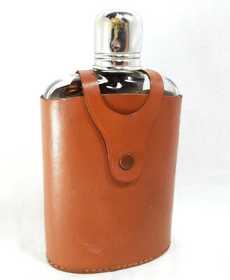 Vintage English Glass Liquor Flask Decanter Made In England Saddle Leather Case