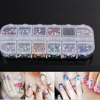 1200pcs Pcs Nail Art Rhinestones Glitter Diamond Gems 3D Tips DIY Decoration